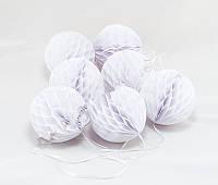Гирлянда из шаров сотов для  декора, белые