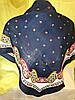 Платок синий с узором и цветами , фото 3