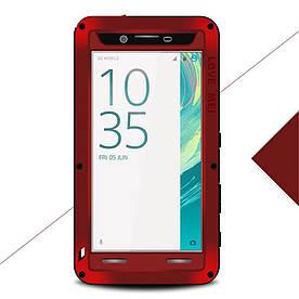 Чехол накладка для Sony Xperia X F5122 металлический противоударный, LOVE MEI, красный