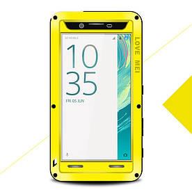 Чехол накладка для Sony Xperia X F5122 металлический противоударный, LOVE MEI, желтый