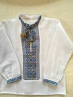 Сорочка біла вишита на домотканому полотні для хлопчика на 1-2 роки
