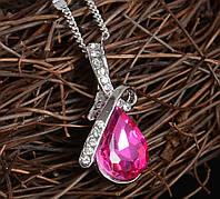 """Модная подвеска украшение на цепочке """"Капелька росы"""" с розовым кристаллом, материал металл, серебристый цвет"""
