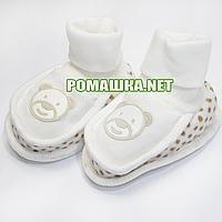 Велюровые пинетки  для новорожденного р. 56-62, демисезонные 95% хлопок 5% эластен ТМ Ромашка 3485 Бежевый