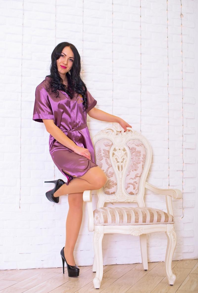 Элегантный женский халат из нежного стрейч атласа. M,L,XL