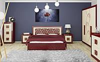 Спальный гарнитур комплект шкаф 5Д, прикроватные тумбы, комод, столик туалетный, зеркало, кровать2С Алия ИИ