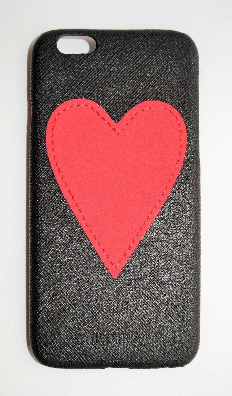Чехол на Айфон 6/6s Iphoria Heart текстурная Кожа Пластик Сердечко Красный Черный