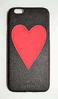 Чехол на Айфон 6/6s Iphoria Heart текстурная Кожа Пластик Сердечко Красный Черный, фото 1