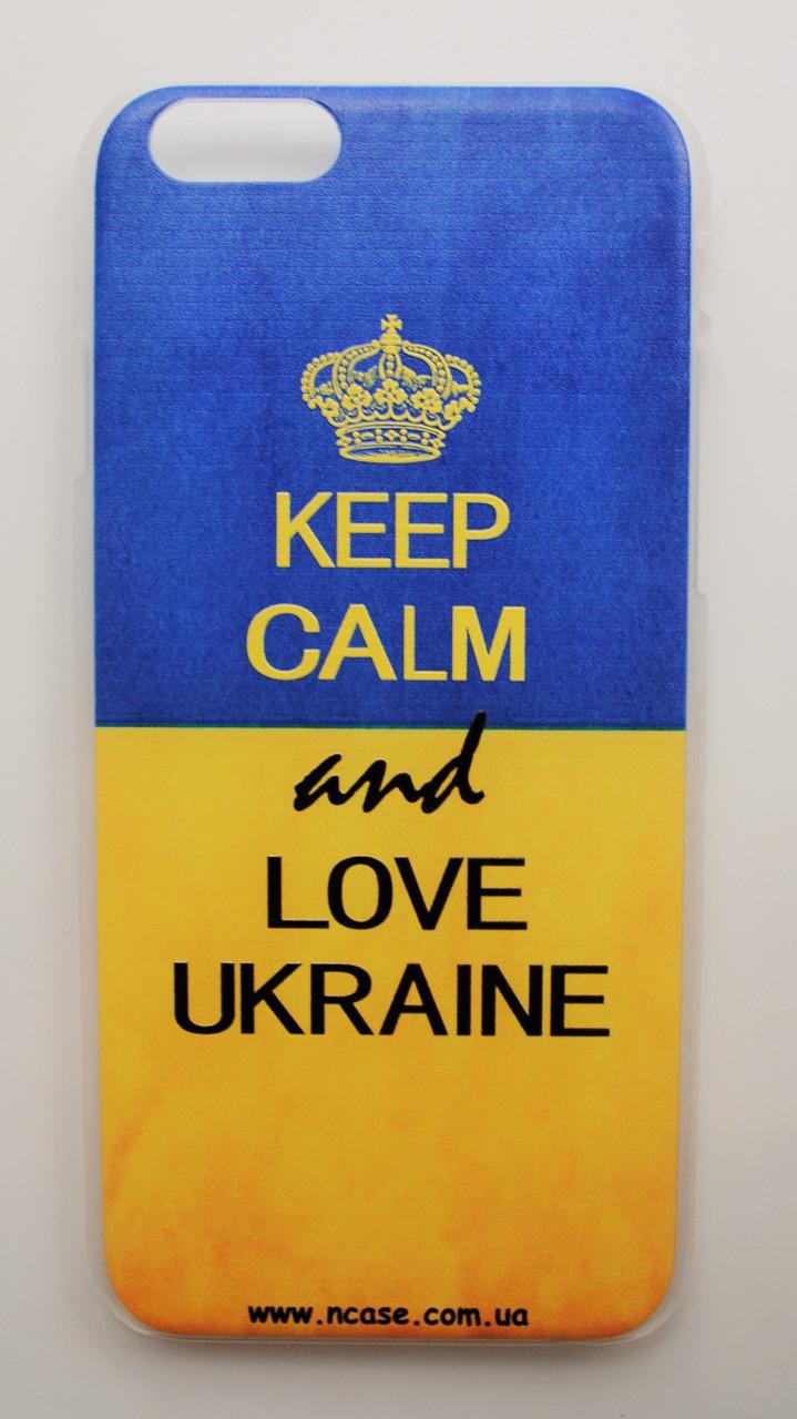 Чехол на Айфон 6/6s Пластик Keep Calm Флаг Украины