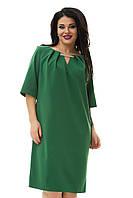 Зеленое платье с украшением на декольте большого размера  54,58,62