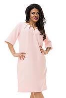 Нежно-розовое платье с украшением на декольте большого размера  54,58,62