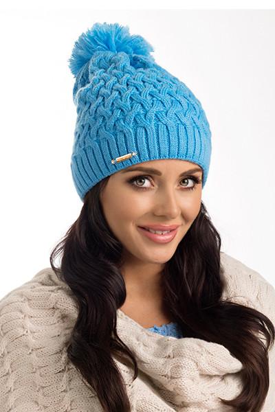 Стильная красивая вязаная женская шапка Kelis Pawonex Польша.