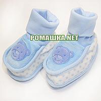 Трикотажные пинетки для новорожденного р. 56-62, демисезонные 100% хлопок ТМ Ромашка 3776 Голубой