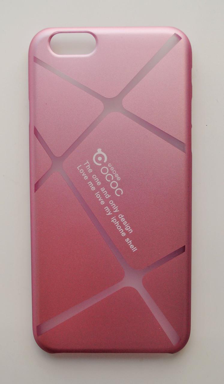 Чехол на Айфон 6/6s Cococ приятный Пластик Линии Матовый Пудровый Розовый