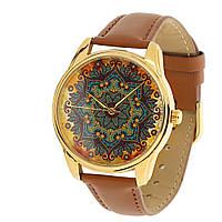 """Наручные часы """"Золотые узоры"""" коричневые"""