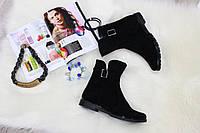 Весенние Замшевые черные ботинки