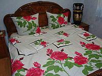 Постельное белье в розы большие бязь семейное