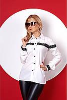 Офисная блуза с кружевной отделкой