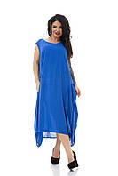 Длинная синяя туника платье лето большого размера 50-62