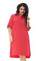 Платье-рубашка коттон розовое лето большого размера 48-54