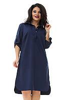 Платье-рубашка коттон лето большого размера 48-54