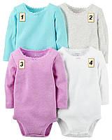 Боди с длинным рукавом для девочки Carter's, (размеры: 3М;6М;9М;12М;18М;24М):