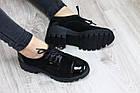 Туфли замшевые черные на тракторной подошве, носик и пяточка лак