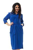 Платье-халат цвет синий, синий большого размера 48-52