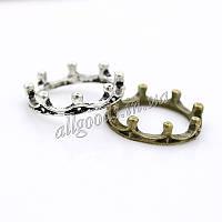Кольцо Корона (бронза, старое серебро)