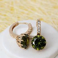 008-3222 - Позолоченные серьги с оливково-зелёными и прозрачными фианитами