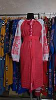 """Короткое платье вышиванка """"писанка"""" бело-розовое, вышивка розовая"""