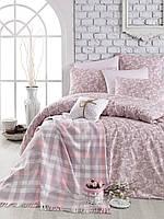 Постельное белье  с пледом Arya Squart розовое