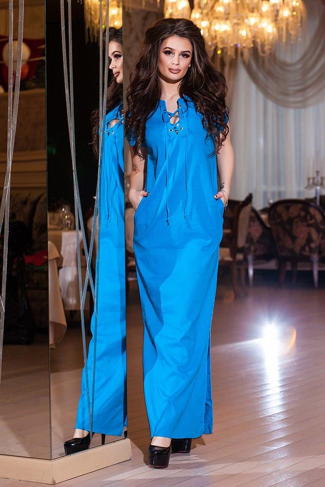 Платье полу батал длинное синее