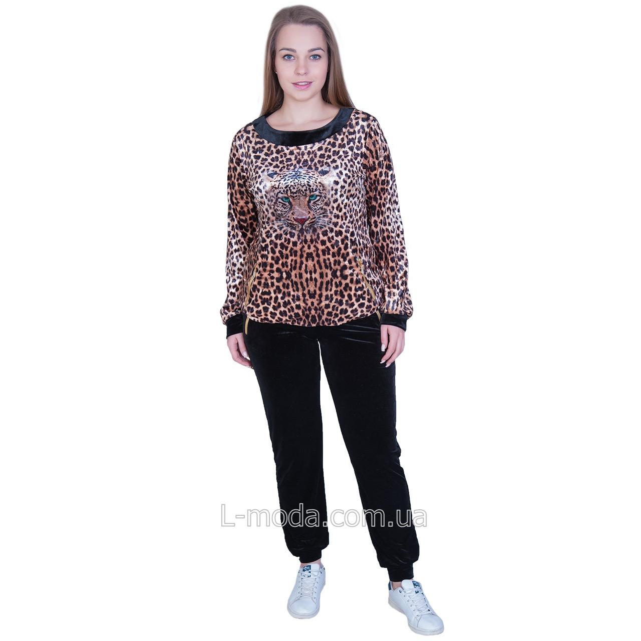 Спортивный костюм женский велюровый леопард