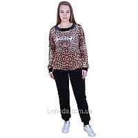 Спортивный костюм женский велюровый леопард, фото 1