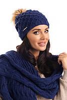 Зимняя вязаная женская шапка с меховым помпоном Stacy Pawonex Польша.