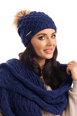 Зимняя вязаная женская шапка с меховым помпоном Stacy Pawonex Польша., фото 2