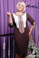 Женское батальное платье Барбара шоколад Lenida 50-58 размеры