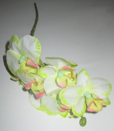Орхидея искусственная 37 см, бело-салатовая