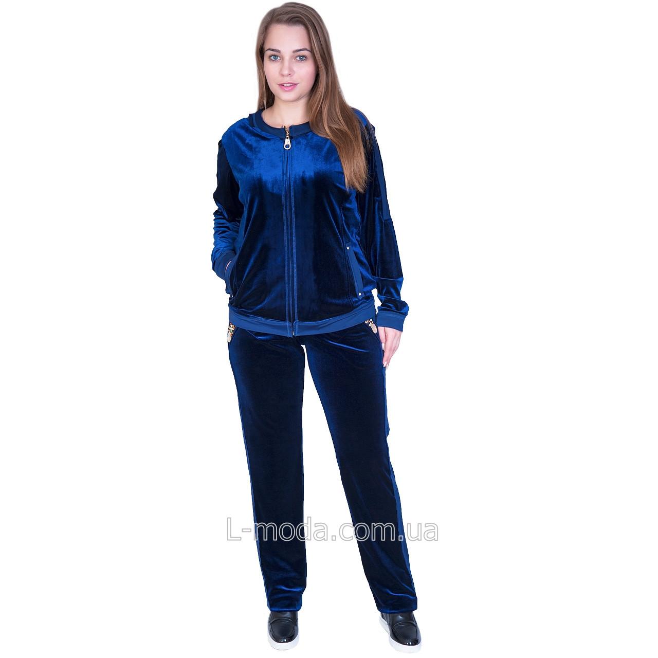 c7b762d501f Спортивный костюм велюровый женский синий с камнями - L MODA магазин женской  одежды