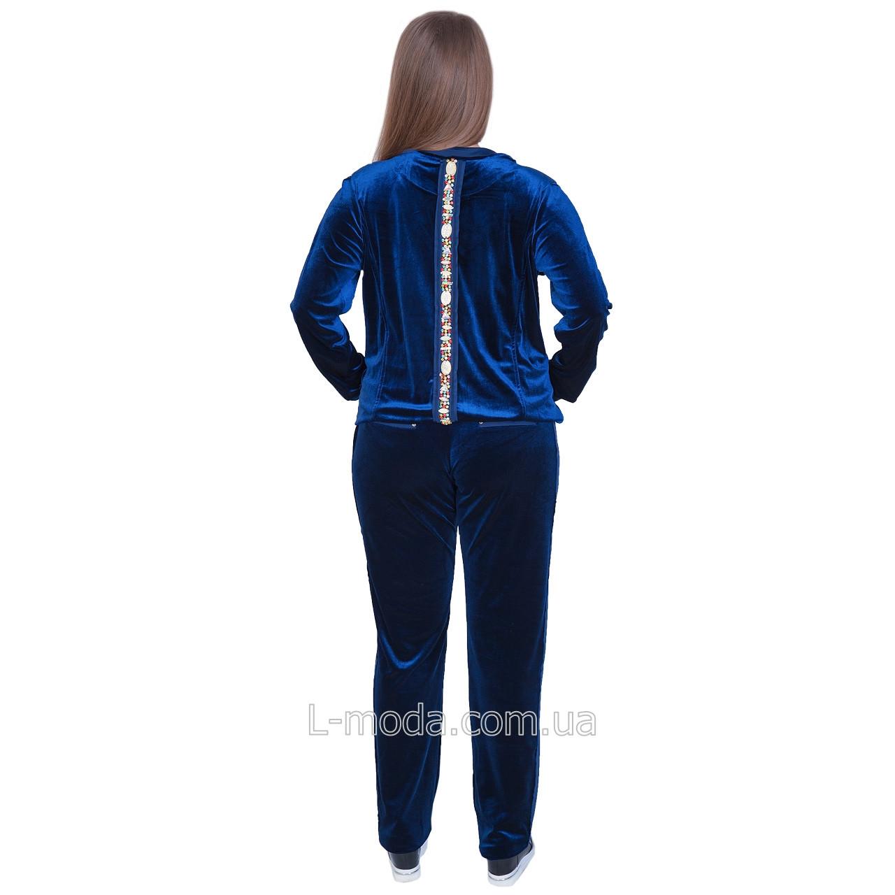 64421073 Спортивный костюм велюровый женский синий с камнями: продажа, цена в ...