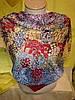 Платок двусторонний с разноцветными цветами , фото 5