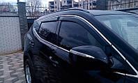 Дефлекторы окон на Hyundai Santa Fe 2013- LWB С Хром молдингом
