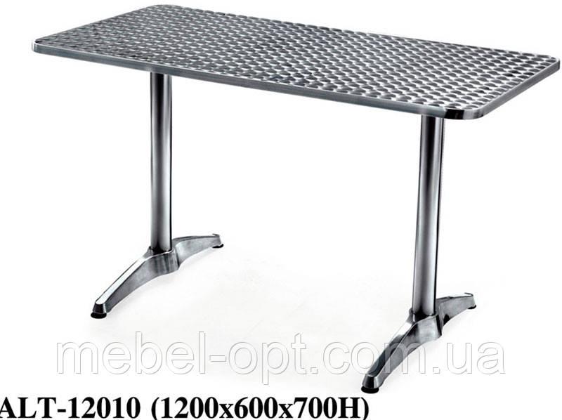 Стол ALT-12010 алюминий прямоугольная столешница из полированной нержавеющей стали для открытых площадок