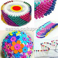 Разноцветные Булавки портновские с шариком, швейные булавки 480 шт цена за 12 пластинок по 40 шт