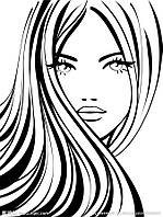 Виниловая наклейка- (длинные волосы) (25х12 см)