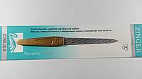 Пилка для ногтей металлическая с сапфировым напылением Zinger, золотая ручка.