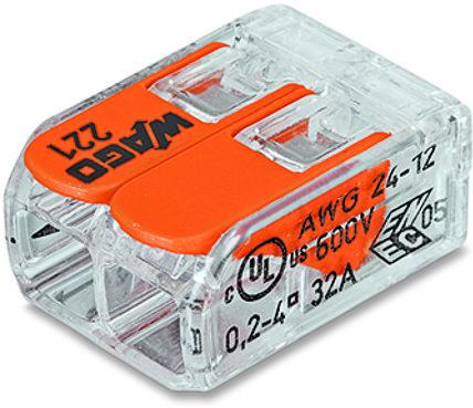 Компактная соединительная клемма COMPACT для всех типов проводников 2-проводная с рычагами