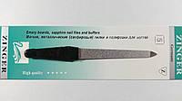 Пилка для ногтей металлическая с сапфировым напылением Zinger, черная ручка.