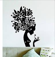 Виниловая наклейка- Девушка(цветы) (от 30х15 см)