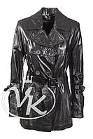 Длинная черная кожаная куртка (размер М)